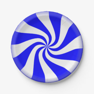 Blue Peppermint Swirls Paper Plates