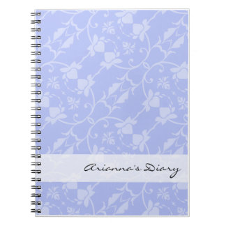 Blue Periwinkle Damask Diary Notebook