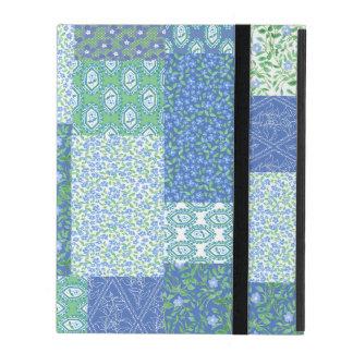 Blue Periwinkle Floral Boho Faux Patchwork Pattern iPad Folio Case