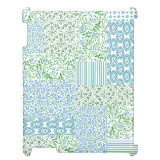 Blue Periwinkle Flowers Vintage Faux Patchwork Case For The iPad 2 3 4