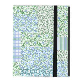 Blue Periwinkle Flowers Vintage Faux Patchwork iPad Folio Cases