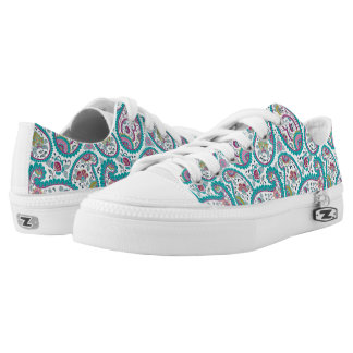 Blue Persian Boteh Paisley Pattern Low Top Shoes