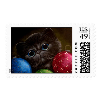 BLUE PERSIAN KITTEN CAT HOLIDAY Postage