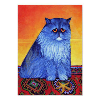 Blue Persian with Starfish Poster