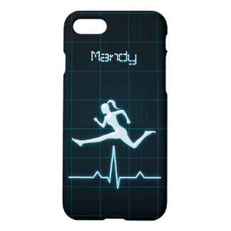 Blue Personal Trainer Coach Woman Jumping Matte iPhone 7 Case