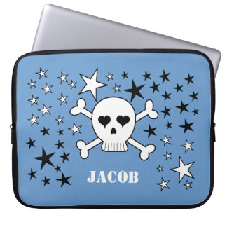 Blue Personalizable Cute Skull and Crossbones Computer Sleeve