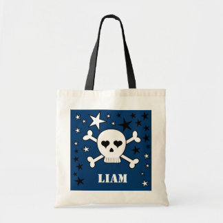 Blue Personalizable Cute Skull Crossbone and Stars Tote Bag