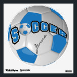 """Blue Personalize Soccer Ball Wall Decal<br><div class=""""desc"""">Soccer Ball Sport Wall Decal featured in a blue and white soccer ball with diy text. 100% Customizable. Ready to Fill in the box(es) or Click on the CUSTOMIZE button to add, move, delete or change any of the text or graphics. Made with high resolution vector and/or digital graphics for...</div>"""