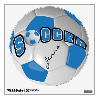 Blue Personalize Soccer Ball Wall Decal