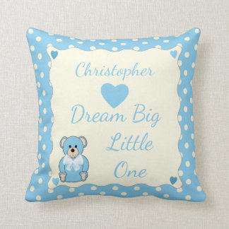 Blue Personalized baby name Teddy Bear Throw Pillow