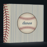 """Blue Personalized Baseball Binder Gift<br><div class=""""desc"""">A rustic baseball gives this binder vintage style. Personalize this binder by changing the text to suit your needs. The design is from original art.</div>"""
