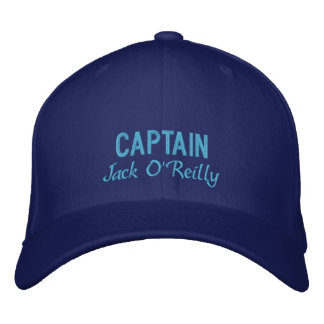 Blue Personalized Captain's Embroidered Baseball Cap