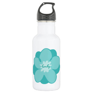 Blue personalized flower water bottle