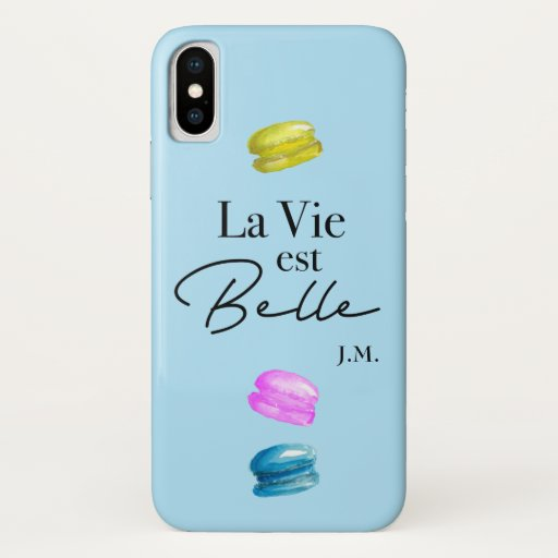 Blue personalized La Vie Est Belle French Macaron iPhone X Case