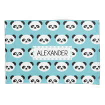 Blue Personalized Panda Bear Kids Kawaii Pillowcase