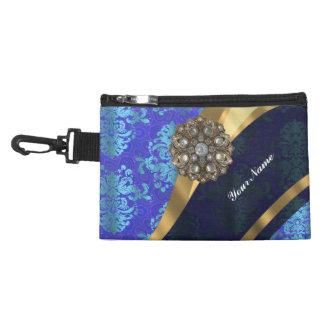 Blue personalized pretty damask pattern accessory bag