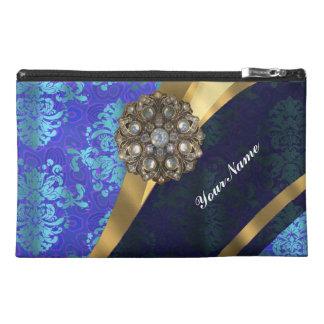 Blue personalized pretty damask pattern travel accessory bag