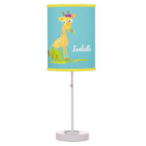 Blue Personalized Watercolor Giraffe Kids Girls Desk Lamp