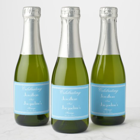 Blue Personalized Wedding Mini Champagne Labels