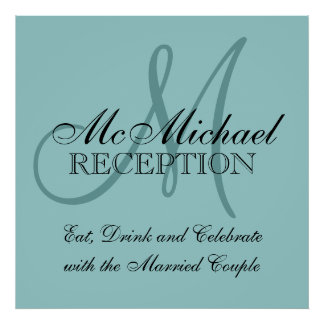 Blue Personalized Wedding Reception Sign Print