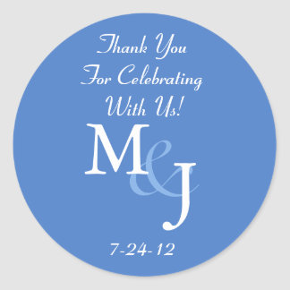 Blue Personalized White Daisy Wedding Favor Labels