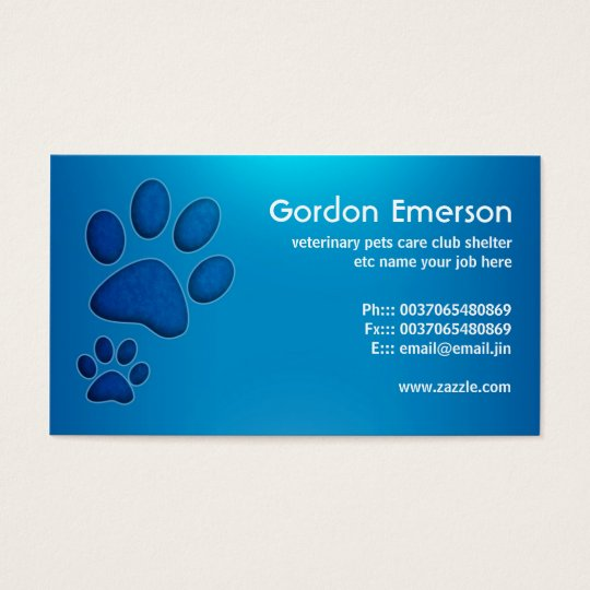 blue pet care veterinary business cards
