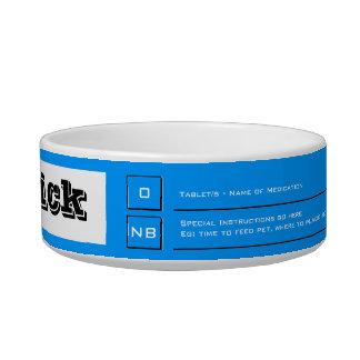 Blue pet food medication guide bowl