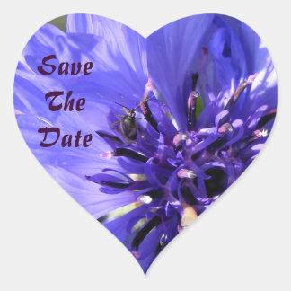 Blue Petals Heart Sticker