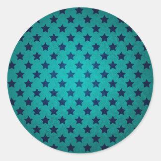 Blue Petrol Star Pattern Classic Round Sticker