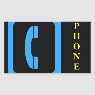 Blue Phone Symbol Rectangular Sticker