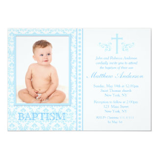 Blue Photo Baptism Invitations