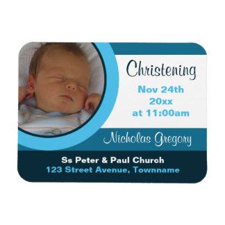 Blue Photo Christening/Baptism Magnet Invitations