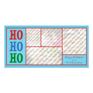 Blue Photo Christmas Card with Custom Text