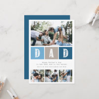 Blue Photo Collage Rustic Typography Father's Day Card