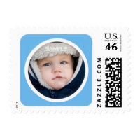 Blue photo frame postage for birth announcements