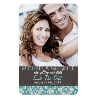 Blue Photo Save The Date Photo Template Magnet