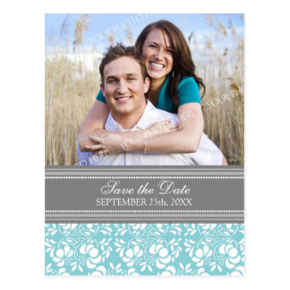 Blue Photo Save the Date Wedding Postcards