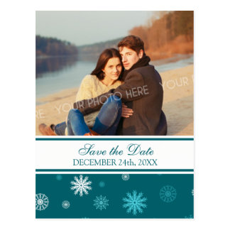 Blue Photo Save the Date Winter Wedding Postcards