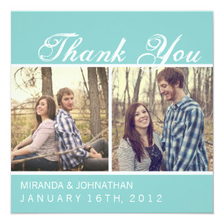 """Blue Photo Wedding Thank You Cards 5.25"""" Square Invitation Card"""