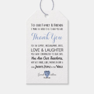Blue PHOTO wedding to our family and friends poem Gift Tags