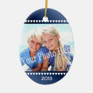 Blue Photo with Hearts Photo Frame Double-Sided Oval Ceramic Christmas Ornament