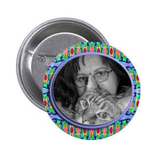blue photoframe 2 inch round button