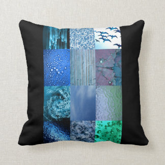 Blue Photography Collage Pillow