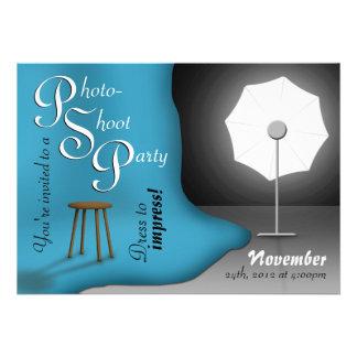 Blue Photoshoot Party Invitations