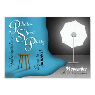 Blue Photoshoot Party Invitations