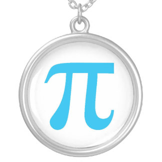 Blue Pi Silver Plated Necklace