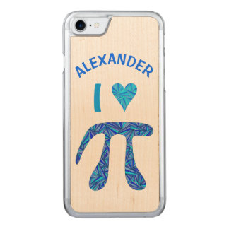 Blue Pi Symbol Math Geek ifone7 Name I Heart Pi Carved iPhone 7 Case