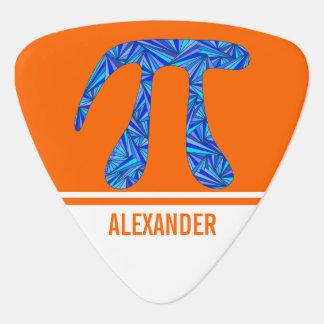 Blue Pi Symbol Math Geek Orange White Add Name Guitar Pick