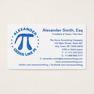 Blue Pi Symbol Math Geek Round Geeks Like Pi Fun Business Card