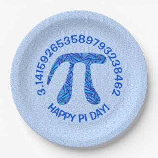 Blue Pi Symbol Math Geek Science Nerd Happy Pi Day 9 Inch Paper Plate